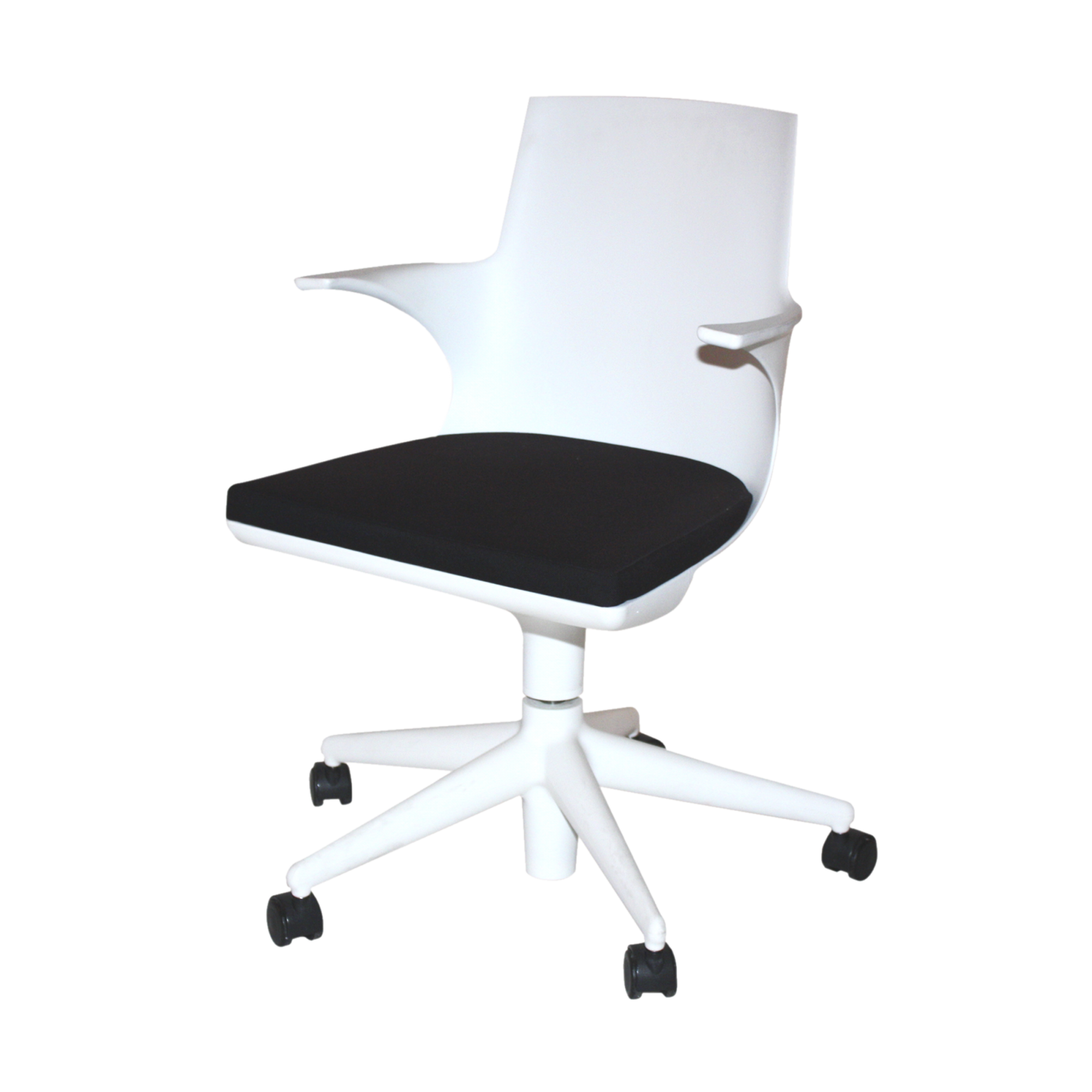 spoon chair with wheels white  black rental - spoon chair with wheels white  black